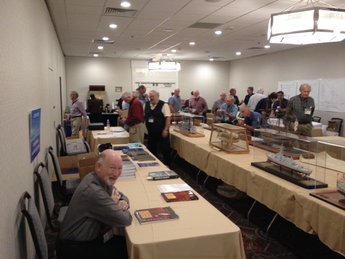 Amazing ship modeler and author David Antscherl caught me taking a photo of him among the ship models on display at the 2014 NRG Conference.