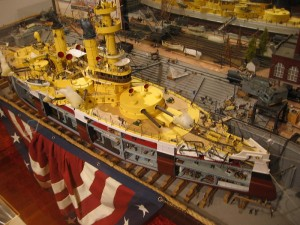 An amazing ship model by artist Joe Frangiosa, Jr. One of many fantastic examples in a big, special exhibit at the Maritime Museum of San Diego.
